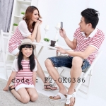ชุดครอบครัว เสื้อครอบครัวลายขวางขาวแดง (ราคา 3 ตัว พ่อ แม่ ลูกสาว) - pre order