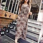 เดรสยาวแฟชั่นแขนกุดลายเสือดาวสีน้ำตาล (ด้านหลังเป็นลูกไม้) 2012 Summer leopard back lace long dress