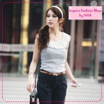 [Preorder] เสื้อแฟชั่นแขนกุดระบายลูกไม้สีเทา spring and summer pearl lace collar bottoming Vest (6 colors)