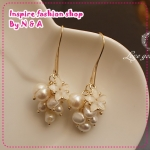 ตุ้มหูยาวไข่มุกดอกไม้ Love earrings freshwater pearls, decorated with discipline Korea Korean Europe and the United States retro earrings earrings female