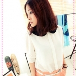 [Preorder] เสื้อแฟชั่นแขนสามส่วนตุ๊กตาสีขาว beautiful recommend to hit color doll button chiffon shirt collar open