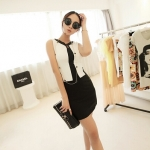 [Preorder] เดรสทำงานแฟชั่นแขนกุดเข้ารูป สำหรับสาวไซส์เล็ก สีดำ Jingjing 2013 summer new Korean version of Women mixed colors shape sleeveless dress