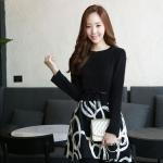 เดรสแฟชั่นเกาหลีเสื้อแขนยาวตัดต่อกระโปรงดีเทลปักลายโทนสีขาว(แถมเข็มขัด)มี S / L
