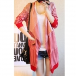 [Preorder] เสื้อคลุมแฟชั่นแขนยาวลายขวาง สีแดง 2013 fall and winter clothes Korean version of the new women's long sleeve striped sweater cardigan coat irregular big yards personality
