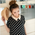 [Preorder] เสื้อแฟชั่นชีฟองแขนสั้นลายจุด สีดำ Little chiffon shirt collar piece (Tokyo Fashion 100% นำเข้าจากไต้หวัน)