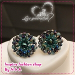 ตุ้มหูแฟชั่นโทนสีฟ้า Love ornaments century peacock blue crystal vintage earrings South Korea, Europe and the United States women earrings