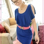 เดรสแฟชั่นเปิดไหล่สีน้ำเงิน JackGrace simple Shuyuan style! Open sleeve overlapping collar with pocket