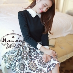 [Preorder] เดรสทำงานแฟชั่นแขนยาว สไตล์เกาหลี 2013 autumn and winter dress Korean dress small fresh floral skirt winter models female models long-sleeved princess dress lapel