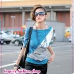 เสื้อแฟชั่นแขนยาวสีฟ้า 2012 spring and summer women's new Korean version of the new loose bat sleeve tri-color stitching short-sleeved round neck t-shirt
