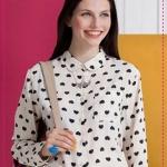 เสื้อเชิ๊ตแขนยาวแฟชั่นสกรีนลายหัวใจ 2012 spring and summer of the new Europe and the United States women retro hearts printed black and white geometric long-sleeved chiffon shirt single original single