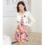 [Preorder] เดรสทำงานแฟชั่นแขนกุดลายดอกไม้สีชมพู + เสื้อคลุมเก๋ๆแขนยาว (ไซส์ M L XL XXL 3XL) Genuine early fall 2014 new big yards long sleeve skirt suit vest printed dress two-piece suit jacket