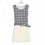 [Preorder] เดรสแฟชั่นแขนกุดลายตารางมาพร้อมเข็มขัดเก่ๆ สีขาว 2013 new Korean version of sweet chiffon pleated hem stitching simple plaid dress with belt