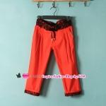 กางเกงแฟชั่นสแลคขาสามส่วนประดับลูกไม้สีส้ม 2012 Summer Korean women stitching stretch the crimping pant slacks pants