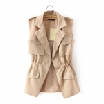 [Preorder] เสื้อแจ๊กเก็ตแฟชั่นแขนกุดสไตล์เกาหลี สีกากี (ไซส์ S M L) 2015 summer new Korean OL fashion waist was thin white women cool breathable vest vest summer