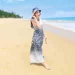 [Preorder] เดรสยาวแฟชั่นสไตล์โบฮีเมียน สกรีนลายเก๋ๆ สีขาว Fashion new Korean temperament small fresh floral chiffon dress temperament female beach dress bohemian dress