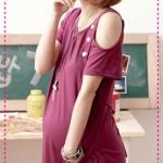 เดรสคลุมท้องเปิดไหล่คุณแม่เซ็กซี่ สีม่วง The red crown 2012 summer burst models hot mom sexy strapless asymmetric thin pregnant women skirt / dress dress