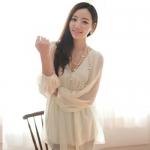 RJ.Story เสื้อแฟชั่นคอวีแขนยาวสีขาวผ้าซีฟองเกาหลี