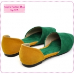 [Preorder] รองเท้าแฟชั่นส้นเตี้ยสีเขียว Korean version of the 2012 spring new shoes