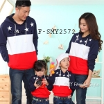 ชุดครอบครัว เสื้อครอบครัว กันหนาวสามสีมีฮู๊ด ลายดาว (ราคา 3 ตัว พ่อ แม่ ลูก) - pre order