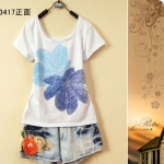 [Preorder] เสื้อยืดแฟชั่นแขนสั้นสกรีนลายใบไม้ใบใหญ่ 2013 summer new fashion casual Korean women short-sleeved cotton T-shirt Slim primer shirt round neck printing large size