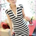 เดรสแขนสั้นลายขวางสีดำขาว JackGrace lapel stripes Slim dress