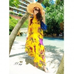 [Preorder] Maxi Dress ชายทะเลลายดอกไม้สีเหลืองสดใส 2013 Xia Jingjing show light yellow feather color printing oversized swing hit Hawaii beach dress (with belt)