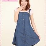 [Preorder] เดรส/เอี๊ยมยีนส์แฟชั่นสีน้ำเงิน Korean Sling Bra strap dress denim dress