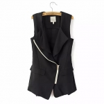 [Preorder] เสื้อแจ๊กเก็ตแฟชั่นแขนกุด ซิปเก๋ๆด้านหน้า แบรนด์ Lily สีดำ (ไซส์ S M L) 2014 Hitz European style women's casual commuter simple asymmetrical vest vest jacket blouses