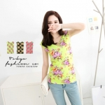 [Preorder] เสื้อแฟชั่นแขนกุดสีเรืองแสงลายดอกไม้ สีเขียว Fluorescent flowers cotton vest