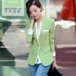 [Preorder] เสื้อสูททำงานแฟชั่นแขนยาว สีหวานสดใส สีเขียว (ไซส์ M L XL XXL) 2015 Spring and Autumn new Women Miss Han Ban long paragraph autumn new long-sleeved Slim small suit jacket