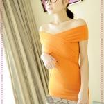 เดรสแฟชั่นเปิดไหล่สีส้ม JackGrace charm! Cross-wrapped shoulder sexy dress color