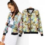 [Preorder] เสื้อแจ๊กเก็ตแขนยาวลายการ์ตูน แบรนด์ ASOS (ไซส์ S M L) 2014 summer new European style cartoon printed ASOS Slim thin section collar jacket coat jacket women