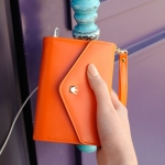 [Preorder] กระเป๋าสตางค์แฟชั่นสำหรับใส่ Iphone,LG, HTC, Samsung สีส้ม Korean version of the new Ms. Crown minimalist multifunction bag purse iphone4S Samsung i9100 mobile phone package card