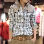 เสื้อเชิ๊ตแขนยาวแฟชั่น Korean version of the high-grade cool wind long section of handsome plaid collar shirt