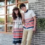 เสื้อคู่รัก ชุดคู่รัก แฟชั่นเกาหลี ชายเสื้อเชิ๊ต หญิงเดรสยาวแขนกุด คอปก เอวยางยืด - พร้อมส่ง