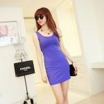 [Preorder] เดรสแฟชั่นแขนกุดสำหรับสาวไซส์เล็ก สีม่วง 2013 summer new super wild multicolor Korean Women Long Vest