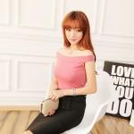 [Preorder] เสื้อแฟชั่นเปิดไหล่ สำหรับสาวหุ่นเล็ก สีชมพู 2014 summer new Korean Women Sexy neck wrap shoulder short sleeve t-shirt