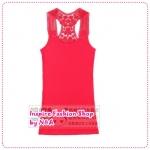 เสื้อกล้ามแฟชั่นสีชมพู new beautiful crochet openwork summer wild the word Korean version of the new vest a small tape (Preorder)