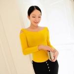 [Preorder] เสื้อแขนยาวแฟชั่นเปิดไหล่ สำหรับสาวไซส์เล็ก สีเหลือง (ไซส์ S M) 2014 Korean version of the influx of boat neck strapless long-sleeved t-shirt Slim female