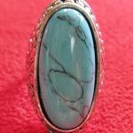 สินค้าหมดค่ะ แหวนหินเทอร์ควอยส์สีฟ้า โรเดียมสีเงิน(มีโชค)แบบ4ค่ะ