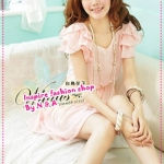 เดรสแขนสั้นระบายสีชมพู Spring and summer of 2012 the new Women Korean sweet beaded flounced short-sleeved chiffon dress