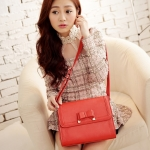 [Preorder] กระเป่าสะพายข้างสไตล์ Retro ประดับโบว์เก๋ๆ สีส้ม Korean version of the new wave of female temperament bow crusty Shoulder Messenger bag woman bag Post