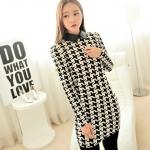 [Preorder] เดรสแฟชั่นแขนยาวสกรีนลาย สำหรับสาวไซส์เล็ก 2013 winter new Korean Women Retro Houndstooth Guppy Neck Slim long-sleeved dress