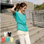 [Preorder] เสื้อแฟชั่นแขนสั้นด้านหลังปักลวดลายเก๋ๆ สีฟ้าเขียว Houbuleisi stitching sweaters