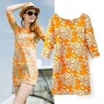 [Preorder] เดรสแฟชั่นแขนยาวสไตล์ยุโรป ลายดอกไม้สีส้ม (ไซส์ S M L)Cotton Village 2014 Winter New European style fashion brand lily sleeve backless dress skirt bottoming