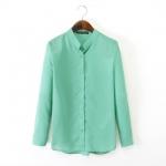 [Preorder] เสื้อแฟชั่นแขนยาว สีเขียวมิ้นท์ (ไซส์ S M L) 2014 autumn before new European style big fashion ladies long and short-sleeved shirt solid color chiffon collar women