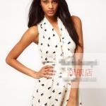 [Preorder] จั๊มสูทแฟชั่นผ้าชีฟองคอวี สไตล์ยุโรปโบว์ผูกที่ปกเสื้อ ลายช้างสีขาว สำหรับสาวไซส์เล็ก - สาวไซส์ XXL V-neckline tie waist sleeveless solid color chiffon one-piece piece dress shorts