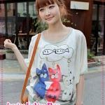 เสื้อสำหรับว่าที่คุณแม่แขนสั้นลายแมวเหมียว Korea Maternity summer piece suit cute cat new pregnant women to read a fish pregnant women T-shirt halter top pregnant women suit