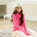 [Preorder] เสื้อกันหนาวแขนยาวคอสูงสีชมพูบานเย็น Trifle collar long-sleeved the warm sweater