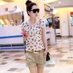 [Preorder] จั๊มสูทแฟชั่นขาสั้นสกรีนลาย ระบายเล็กๆ ลายดอกไม้ 2013 summer shorts Korean yards chiffon patchwork pants female Siamese women summer jumpsuit pants coveralls